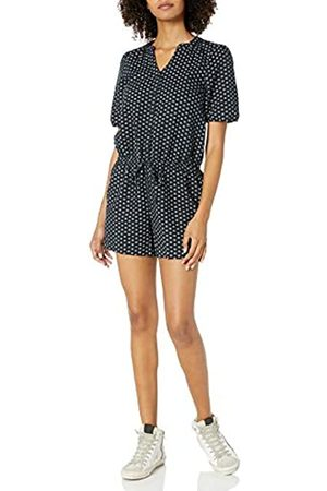 Goodthreads Washed Linen Blend Button Front Romper Jumpsuits-Apparel, Black Floral DOT, US 6