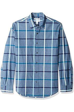 Amazon Regular-Fit Long-Sleeve Plaid Shirt Camicia Che Si abbottona, Denim Large, US