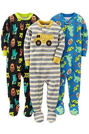 Simple Joys by Carter's Baby and Toddler Pigiama in cotone con piede, confezione da 3 ,Monsters/Dino/Construction ,24 Months