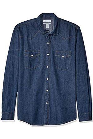 Amazon Camicia da uomo, in denim, a maniche lunghe, Slim Fit, medio, US XS