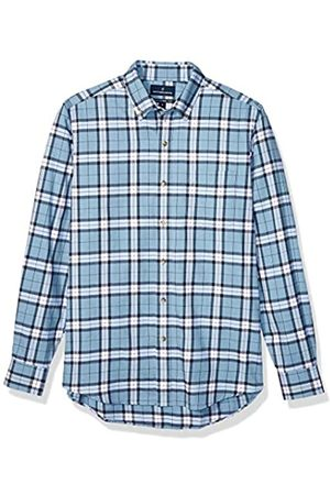 Buttoned Down Tailored Fit Supima Cotton Brushed Twill Plaid Sport Shirt Button-Down-Shirts, Heather Blue, US L