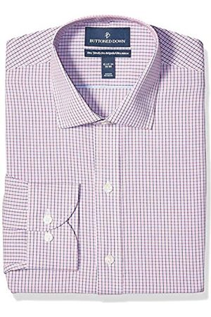 """Buttoned Down Xtra-Slim Fit Pattern Non-Iron Dress Shirt Shirts, Berry/Red/Navy Tattersall Micro Check, 17"""" Neck 38"""" Sleeve"""