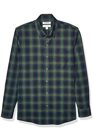 Goodthreads Marchio Amazon - , camicia da uomo, a maniche lunghe, popeline elasticizzato e comodo, facile da lavare, Slim Fit, Green Navy Shadow Plaid, US XL