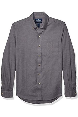 Buttoned Down Slim Fit Supima Cotton Brushed Twill Plaid Sport Shirt Camicia Che Si abbottona, Charcoal, XXL Tall