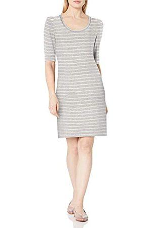 Daily Ritual Cozy Knit-Abito a Spalla sbuffata Dresses, Heather Grey Marl/White Stripe, US XL