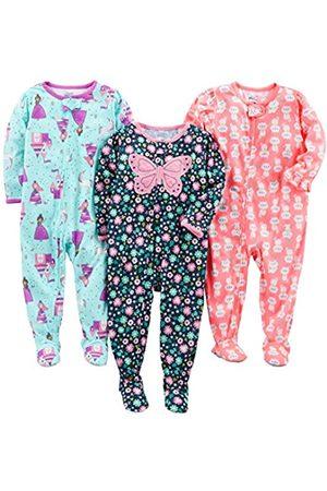 Simple Joys by Carter's Pigiama per neonata e bambina, in jersey di poliestere, con piede, confezione da 3 ,Fairy/Butterfly/Kitty ,12 Months
