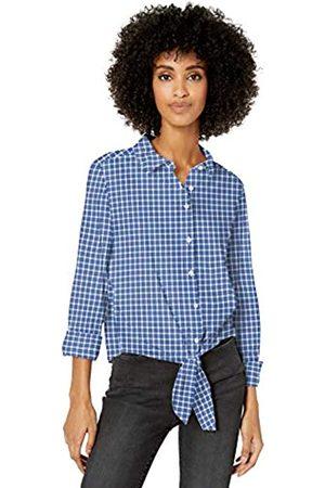 Goodthreads Lightweight Poplin Tie-Front Shirt Dress-Shirts, Blue/Orange/White Plaid, US