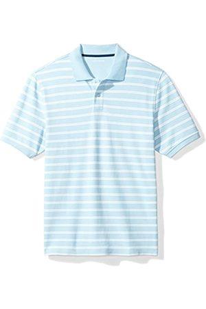 Amazon Regular-Fit Striped Cotton Pique Polo Shirt, Light Blue Stripe, S