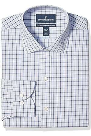 """Buttoned Down Uomo Casual - Xtra-Slim Fit Pattern Non-Iron Dress Shirt Shirts, Grey/Blue Windowpane Check, 16"""" Neck 33"""" Sleeve"""