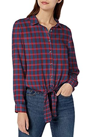 Goodthreads Modal Twill Tie-Front Shirt Dress-Shirts, Blue/Red Plaid, US