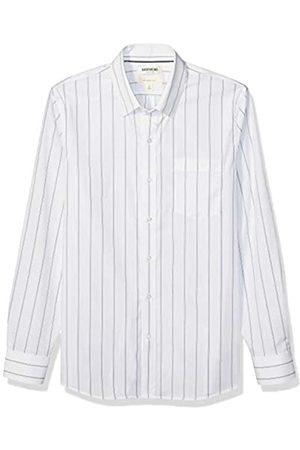 Goodthreads Marchio Amazon - , camicia da uomo, a maniche lunghe, popeline elasticizzato e comodo, facile da lavare, Slim Fit, White Blue Double Stripe, US XXXL