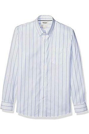 Goodthreads Standard-Fit Long-Sleeve Stretch Oxford Shirt Camicia Che Si abbottona, White Bright Blue Triple Stripe, L