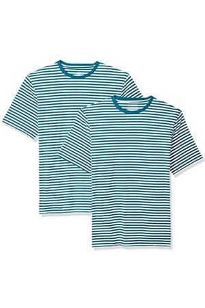 Amazon Maglietta a maniche corte girocollo, da uomo, vestibilità ampia, Teal/White, US XXL , Confezione da 2