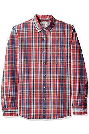 Goodthreads Slim-Fit Long-Sleeve Pattern Chambray Shirt Camicia, Denim Plaid Red, US