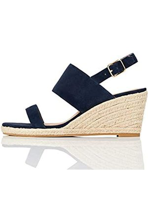 FIND Marchio Amazon - Wedge Two Part Espadrille Sandalo Espadrillas con Zeppa, Blau , 40 EU