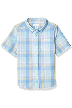 Amazon Camicia a maniche corte in popeline/chambray, da bambino, Plaid Blue/Teal, US XL