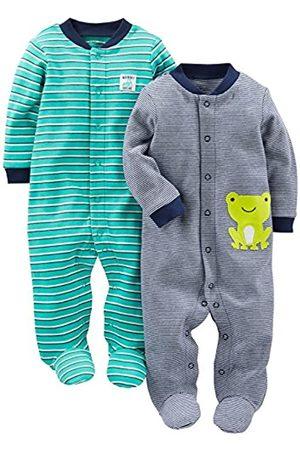Simple Joys by Carter's Baby, confezione da 2 pezzi, in cotone, per dormire e giocare ,Navy/Turquoise Stripe ,Newborn