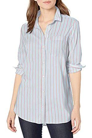 Goodthreads Lightweight Poplin Long-Sleeve Boyfriend Shirt Dress-Shirts, Blue/Coral Dobby Stripe, US M -L