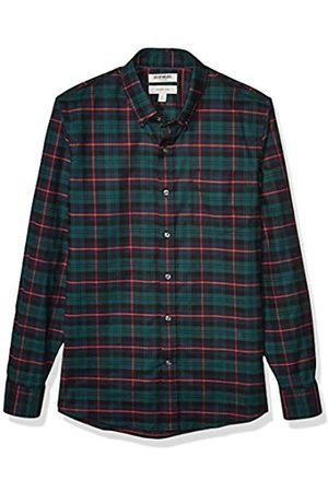 Goodthreads Slim-Fit Long-Sleeve Stretch Oxford Shirt Camicia, Uomo, Green Navy Tartan, 2XL
