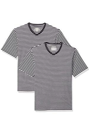 Amazon Maglietta a maniche corte con scollo a V, da uomo, vestibilità ampia, Black/Light Gray Heather, US XS - Confezione da 2