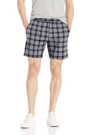 Goodthreads 7 inch Inseam Linen Cotton Short Pantaloncini Casual, Navy Check, 30