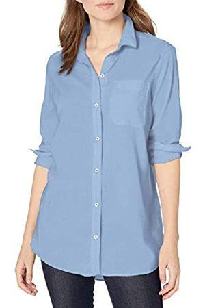Goodthreads Lightweight Poplin Long-Sleeve Boyfriend Shirt Button-Down-Shirts, Light Blue Novelty Weave, US S