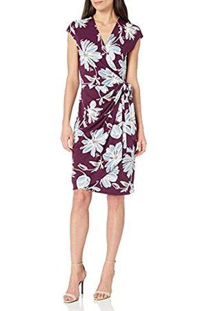 Lark & Ro Marchio Amazon - Classic cap-Sleeve Wrap Dress Vestito, Wine Floral, XL