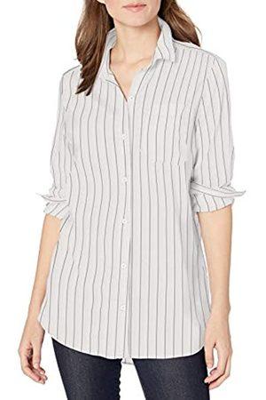 Goodthreads Lightweight Poplin Long-Sleeve Boyfriend Shirt Dress-Shirts, White/Blue Open Stripe, US XL