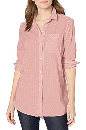 Goodthreads Lightweight Poplin Long-Sleeve Boyfriend Shirt Button-Down-Shirts, White/Coral Mini-Stripe, US S