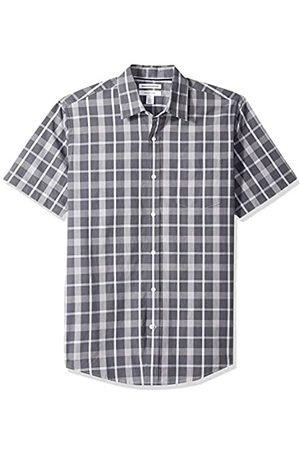 Amazon Regular-Fit Short-Sleeve Plaid Shirt Button-Down-Shirts, Charcoal, US XXL