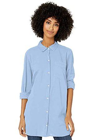 Goodthreads Lightweight Poplin Long-Sleeve Button-Front Shirt Dress-Shirts, Light Blue Novelty Weave, US L