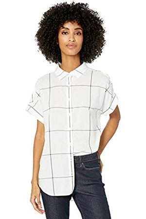 Goodthreads Lightweight Poplin Short-Sleeve Button-Front Shirt Dress-Shirts, off-White/Navy Windowpane, US XXL