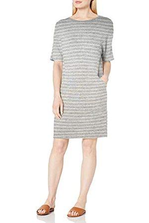 Daily Ritual Cozy-Vestito da Tasca Cucito a Maglia Dresses, Heather Grey Marl/White Stripe, US XXL