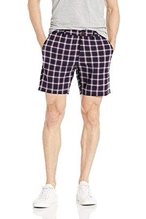 Goodthreads 7 inch Inseam Linen Cotton Short Pantaloncini Casual, Navy Red Check, 30