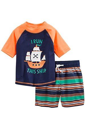 Simple Joys by Carter's Costume da bagno per bambini e neonati, 2 pezzi ,Orange Blue Ship ,3T