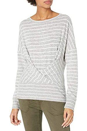 Daily Ritual Cozy Knit Pleat Front Drappeggiato Felpa Fashion-Sweatshirts, Heather Grey Marl/White Stripe, US XL