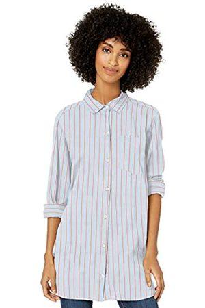 Goodthreads Lightweight Poplin Long-Sleeve Button-Front Shirt Dress-Shirts, Blue/Coral Dobby Stripe, US L