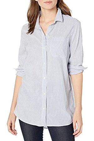 Goodthreads Lightweight Poplin Long-Sleeve Boyfriend Shirt Dress-Shirts, White/Blue Stripe, US L