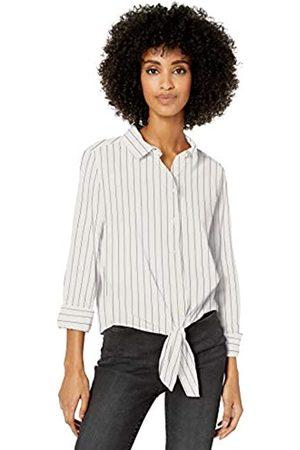 Goodthreads Lightweight Poplin Tie-Front Shirt Dress-Shirts, White/Blue Open Stripe, US