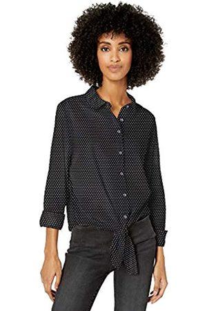 Goodthreads Donna Vestiti casual - Lightweight Poplin Tie-Front Shirt Dress-Shirts, Black Beauty/White Mini-Foulard, US XL