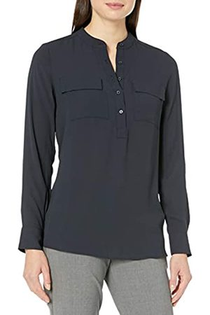 Lark & Ro Long Sleeve Sheer Utility Woven Tunic Top with Band Collar Shirts, Navy Scuro, US 2