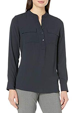 Lark & Ro Long Sleeve Sheer Utility Woven Tunic Top with Band Collar Shirts, , US 16