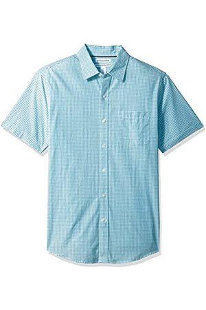 Amazon Slim-Fit Short-Sleeve Gingham Shirt Camicia Che Si abbottona, Aqua