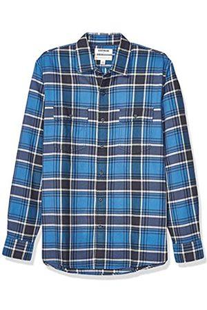 Goodthreads Standard-Fit Long-Sleeve Plaid Twill Shirt Button-Down-Shirts, Blue Navy, Medium