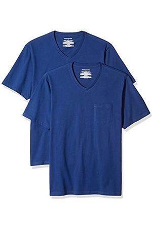 Amazon Confezione da 2 magliette con scollo a V, da uomo, vestibilità larga, con taschino, , US S