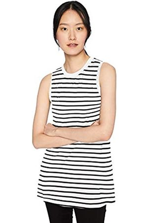 Daily Ritual Jersey Muscle-Sleeve Swing Tunic Shirts, White-Navy Stripe, US M -L