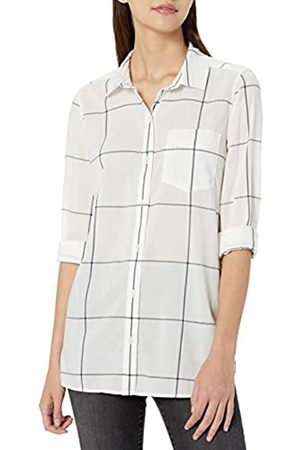 Goodthreads Lightweight Poplin Long-Sleeve Button-Front Shirt Dress-Shirts, off-White/Navy Windowpane, US M -L