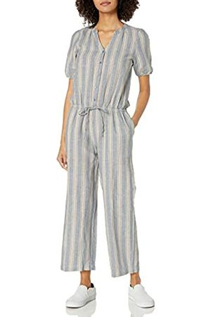 Goodthreads Washed Linen Blend Button Front Jumpsuit Jumpsuits-Apparel, Thin Rainbow Stripe, US 12