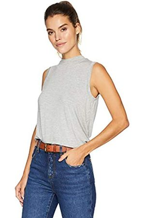 Daily Ritual Jersey Sleeveless Boxy Mock-Neck Shirt Novelty-Tank-Tops, Light Heather Grey, US M -L