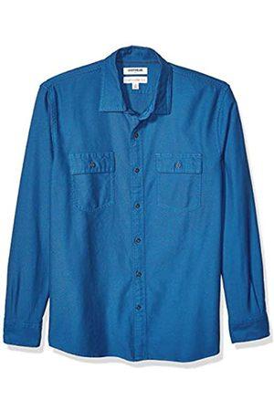 Goodthreads Standard-Fit Long-Sleeve Plaid Twill Shirt Button-Down-Shirts, Sea Blue, X-Small